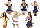 Navy White Sea Sailor Girl Ladies Fancy Dress Costumes Outfit Halloween Nautical