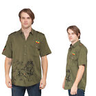 Men's Rasta Reggae Lion Print button shirt-20217