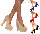 WOMENS SUEDE HIGH BLOCK HEELS COURT SHOE CONCEALED PLATFORM STILETTO PUMPS SIZE