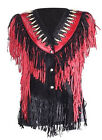 Womens Leather Vest with Black & Red Fringes