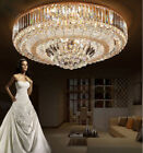 LED Remote Control S Gold K9 Crystal Ceiling Light Pendant Lamp Chandeliers 6727