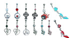Dangle belly bars, handcuffs, hearts, swirls, shoes body jewellery for navels