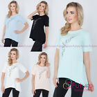 Womens Asymmetric Sequined Tunic Short Sleeve Cotton Top One Size 8-12 FT2773