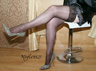3 pairs BLACK Luxury Shine LaceTop Hold Ups Stockings XXL / PLUS SIZE