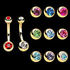 One Gold Plated 316L Surgical Steel Double Gem Petite Navel Belly Button Ring