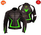 motorbike leather jacket black leather jacket green lining comes with ce armour