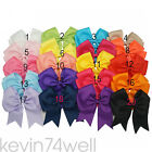 """6"""" Solid Ribbons Bowknot Hair Bows With Alligator Hair Clip For Baby Girls New"""