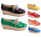 New Women's Shiny Lace Up Straw Woven Low Wedge Platform Heels Six Colors 5.5-10