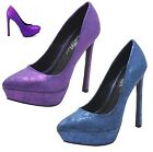 New Women Distressed Metallic Print Platform Pumps Skinny Heel Blue Purple 6-10