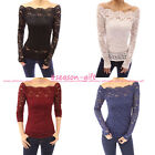 Gift Sexy Women Blouses Off Shoulder Lace Crochet Shirts Long Sleeve Slim Casu