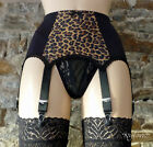 8 Strap Luxury Suspender Belt Leopard & Black (Garter Belt) *FREE SHIPPING*