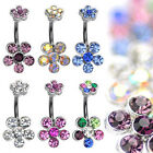 One 316L Surgical Steel Double 6-Gem Belly Button Navel Ring