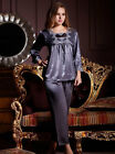 Lace Grey Silk Blend 2pcs Women's Sleepwear pajamas sets M/L/XL/2XL Long Sleeves