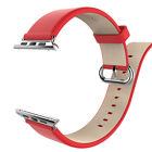 Leather Watch Band Strap Bracelet +Classic Buckle for Apple Watch iWatch 38 42mm