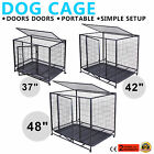 """37"""" 42"""" 48"""" DOG CAGE PET PUPPY CRATE KENNEL PLAYPEN PORTABLE Pet Playpen W/Tray"""