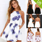 Fashion Women Spaghetti Strap Floral Print Beach Style Skater Mini Dress
