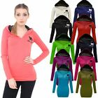 NEW LADIES MISS SEXY HOODIE JUMPER WOMENS PLAIN TOP HOODED SWEATSHIRT 8 10 12 14