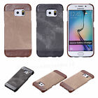 Stylish PU Leather Canvas Protective Hard Back Case Cover For Samsung S6/S7 Edge