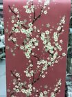 Oriental Style Apple Blossom Wallpaper Red/cream Sale Free Delivery