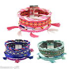GIFT Multicolor Braided Rope Ribbon National Wind Magnet Buckle Bracelet Bangle