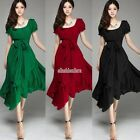 Women Floral Flower Big Hem Polka Dot Lotus Leaf Long Dress with Belt EFFU