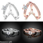 GIFT Women Charm Wedding Promise Ring & Crystal Rhinestone Jewelry Size 8