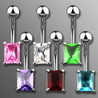 One Elegant Surgical Steel Fancy Rectangle Shape CZ Belly Button Navel Ring