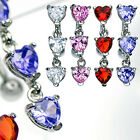 One Elegant Surgical Steel Triple CZ Hearts Reverse Dangle Button Navel Ring
