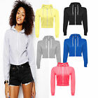 Crop Hoodie Womens Sweatshirt Top Hooded Plain Ladies Pullover Casual Jumper