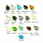 Gemstone Pendant - Gold plated Bezel Gem-Small Teardrop Gem- 10x14mm  (2 Pieces)