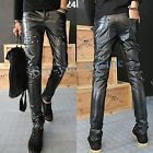 Hot Men's PU Leather Punk Skinny Slim Pants Casual Classical Motorcycle Trousers