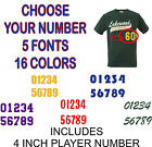 4 Inch Custom Iron On Jersey Heat Vinyl Transfer Number Team *4 Fonts, 16 Colors