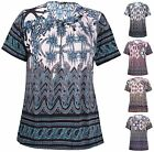 Womens Plus Size Paisley Border Print Ladies Short Sleeve Stud Bead T-Shirt Top