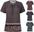 Womens Plus Size Floral Border Print Ladies Short Sleeve Brooch Neck T-Shirt Top