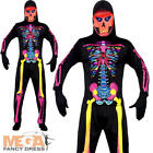 Neon Skeleton Mens Halloween Spooky Skull Fancy Dress Adults Costume Outfit New