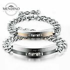 MENDINO Men's Women's Stainless Steel Bracelet CZ Love Promise Couple Bangle