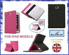 Luxury Crystal Crown Diamond Quilted FLIP Leather Stand UP Cover Case Apple iPad