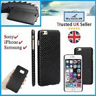 Carbon Fibre Black 3D Hard Case mobile phone Cover - iPhone Samsung Sony Xperia