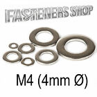 Size M4 (4mm Ø) Flat Washers A Type DIN 125 A Stainless Steel A2