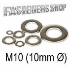 Size M10 (10mm Ø) Flat Washers A Type DIN 125 A Stainless Steel A2