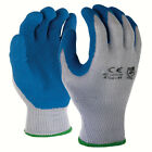 SDI 12 Pairs Gray Blue 10 Gauge Poly Cotton Blue Latex Palm Coating Glove New
