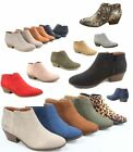 Women's Low Chunky Heel Zipper Almond Toe Ankle Booties Shoes Size 5.5 - 11 NEW