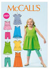 McCalls 6947 Girls Toddlers Top Dress Shorts Leggings 2-8 Sewing Pattern M6947
