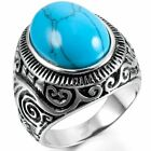 MENDINO Men's 316L Stainless Steel Ring Classic Oval Turquoise Biker Silver Blue