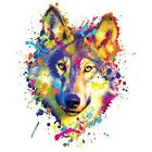 Multi-Color Paint Splatter Wolf T-Shirt All Sizes & Colors (932)