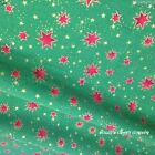 Christmas Stars Fabric Red green & gold pattern metres,F/Q or square 100% cotton