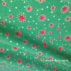 Christmas Stars Fabric Green & Red Gold Stars metres,F/Q or square 100% cotton
