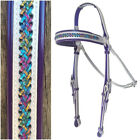 Barcoo/Stockmans Bridle - Mac Tack - PVC Horse Bridle - Silver & Purple