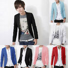 Mens Men Casual Slim Fit Leisure One Button Suit Blazer Coat Jacket Tops Stylish