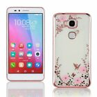 New Slim Thin TPU Bumper Butterfly Floral Bling Diamond Case Cover For Huawei